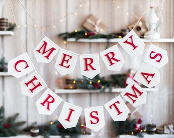 Merry Christmas Banner,  Christmas Garland, Burlap Banner, Burlap Bunting, Rustic Christmas Garland, Christmas Decor Merry Christmas Bunting