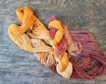 Scarlet and Golden, ready to ship, Hand dyed yarn, fingering weight, indie dyed yarn, merino, nylon
