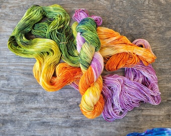 Witching hour,  ready to ship, Hand dyed yarn, fingering weight, indie dyed yarn, merino, nylon