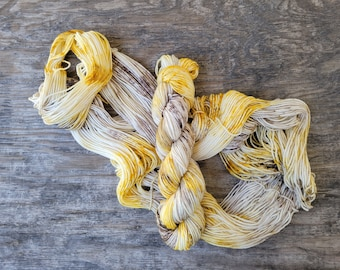 Yellow House Finches,  ready to ship, Hand dyed yarn, fingering weight, indie dyed yarn, merino, nylon