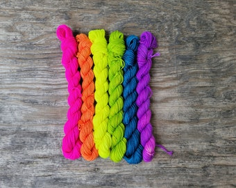 Back to school highlighters, mini skein yarn kit, hand dyed yarn, indie dyed yarn, fingering weight, hand painted yarn