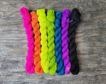 Back to school highlighters with a black pen , mini skein yarn kit, hand dyed yarn, indie dyed yarn, fingering weight, hand painted yarn