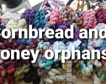 Cornbread and Honey orphan skeins, sock yarn, fingering weight, dk weight, worsted weight