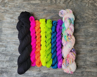 Back to school highlighters Betwixt Set, mini skein yarn kit, hand dyed yarn, indie dyed yarn, fingering weight, hand painted yarn