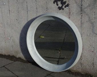 Raw living round mirror frame made of concrete 40 cm