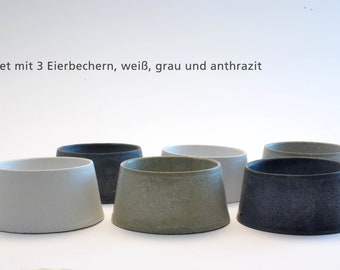 Raw living egg cups made of concrete set of 3
