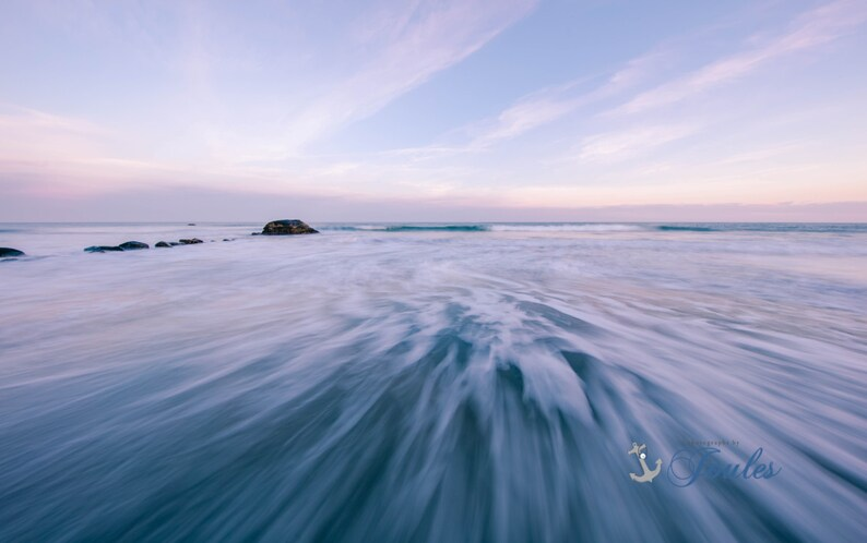 Art Coastal New England Rhode Island Narragansett Home Decor Ocean Photograph Art Twilight ~ Scarborough Beach Seascape