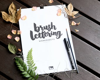 Brush Lettering Calligraphy Worksheets - Digital Download
