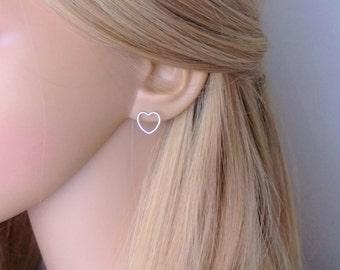 Open heart stud earrings sterling silver; silver heart earrings; simple heart earrings silver