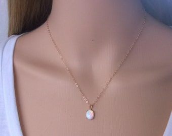 Oval opal necklace 14Kt gold filled; gold opal necklace; opal pendant necklace; iridescent gemstone necklace; October birthstone necklace