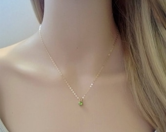 Tiny peridot necklace in 14Kt gold filled; gold peridot necklace; tiny faceted peridot necklace; August birthstone