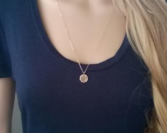 Hammered 14Kt gold filled necklace; gold disc necklace; simple gold necklace; long gold disc necklace; gold hammered circle necklace