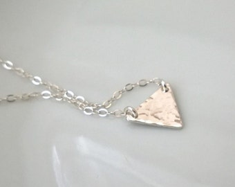 Sterling silver hammered triangle necklace; solid silver triangle; small silver triangle necklace; hammered silver necklace