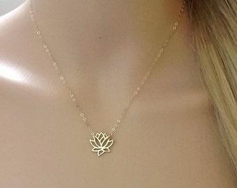 14Kt gold-filled lotus necklace; gold lotus necklace; gold flower necklace
