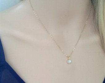 Tiny moonstone necklace 14Kt gold filled; gold moonstone necklace; June birthstone; moonstone pendant necklace; round moonstone necklace