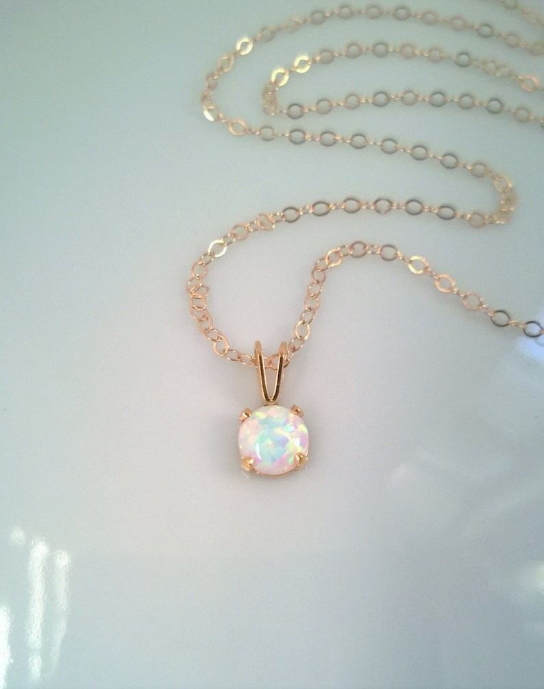 Tiny opal necklace 14Kt gold filled; gold opal necklace; small round opal necklace; iridescent gemstone; October birthstone necklace