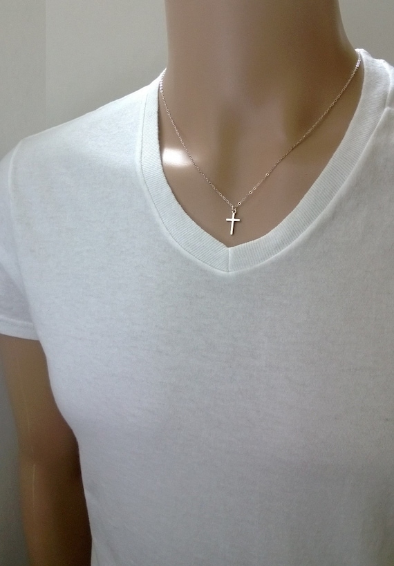 Tiny cross necklace in pewter