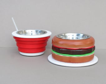 Dog bowl stand BURGER & COLA (size S and M) - elevated dog feeder - raised dog bowl feeder