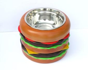 Raised dog bowl holder DOUBLE BURGER 20 - elevated dog bowl stand