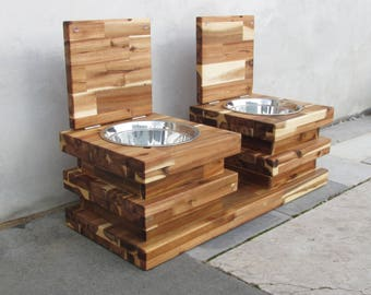 Elevated dog bowl stand STRIPY ll (size L and XL) - raised stand for big dogs