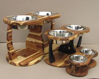 Elevated dog bowl holder ACACIA TRIPOD (size L and XL) - elevated dog bowl - raised dog dish - pet bowl holder - elevated feeding station