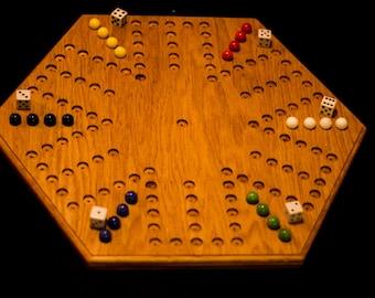 Handmade Oak  6 Player Aggravation Board (5 holes by 6 holes)