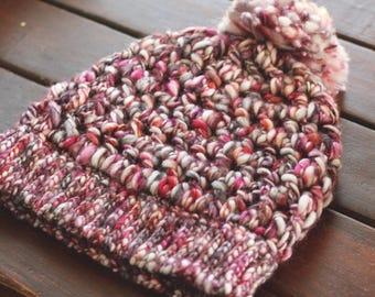 Plumeria Handpainted Merino Beanie | Handspun Merino Art Yarn | Luxe Thick and Thin Wool | Pink Orange White | Big PomPom