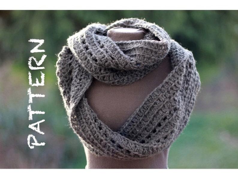 Pattern Ribbed Infinity Scarf Crochet Pattern 1 Skein Etsy