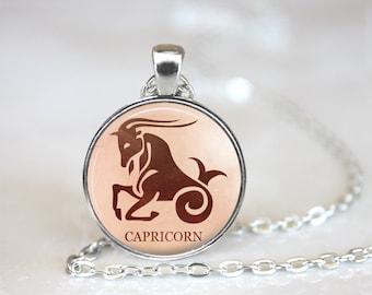 Capricorn Pendant, Zodiac Jewelry, Capricorn Necklace, Astrology, Capricorn Jewelry, Capricorn, (ZODIAC 3 A4)