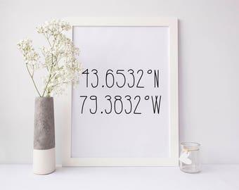 Coordinates print, coordinates personalized print, latitude longitude print, custom coordinates print, city coordinates print, couple print