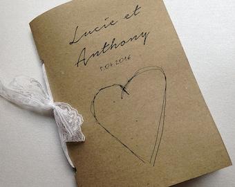wedding guestbook - lace kraft binding