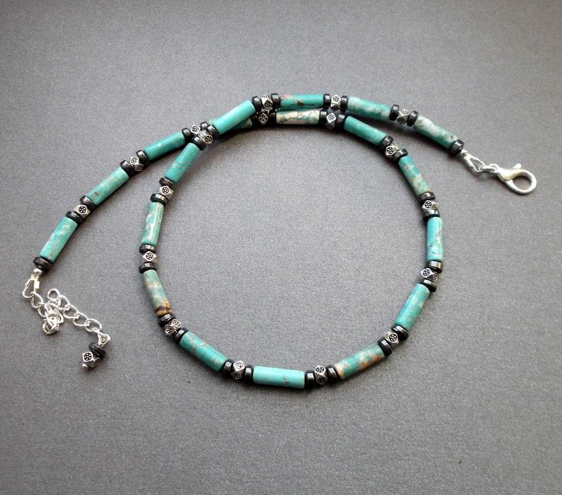 """Turquoise Beaded Necklace Hematite Beads 17/"""" Handmade Gemstones Choker New"""
