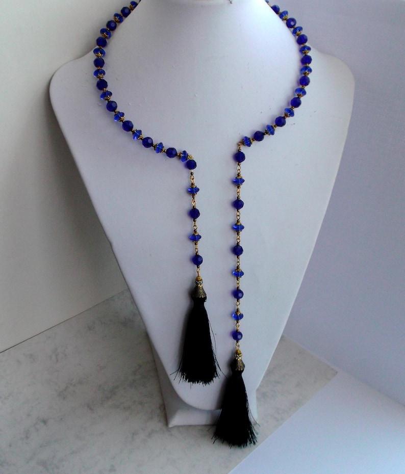 black Tassel Gift for her For women Birthday gift blue Choker Necklace blue crystal Choker Revamp Necklace pendant tassels Tassel black