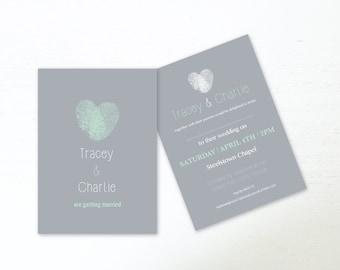 Hochzeit Einladungen Digital Download Hochzeit Einladen Grau U0026 Mint Grün  Fingerabdruck Herz 5 X 7 Hochzeit Stationären Digitalen Datei