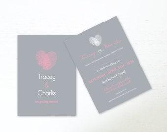 Hochzeit Einladungen Gedruckt Hochzeit Einladung A6 Hochzeit Stationäre Hochzeit  Einladung Grau U0026 Pink Fingerabdruck Hochzeitseinladungen