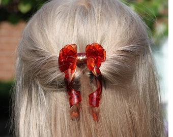 Hair Comb Red Bow with Gold accents Resin Transparent Wire Wrapped Gift for Her Chinese Wedding