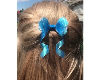 Hair Comb Blue Bow with Silver accents Resin Transparent Wire Wrapped Gift for Her Prom Wedding
