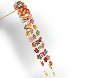 Very Long Dangle Hair Pin Resin Japanese Tsumami Kanzashi Rainbow  Forget Me Not Flowers Transparent teardrop beads