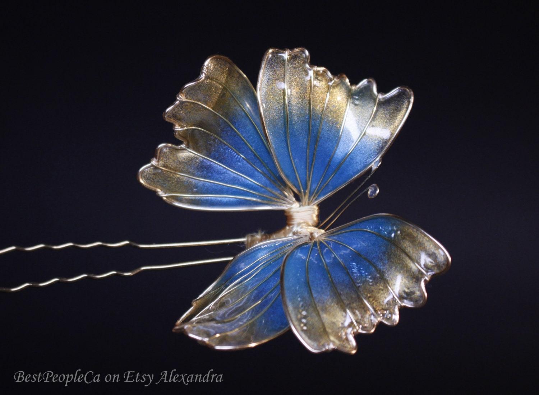 papillon dor bleu cheveux broche mariage accessoires de etsy. Black Bedroom Furniture Sets. Home Design Ideas