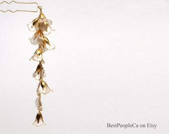Hairpin Hair Stick Dangle Resin Japanese Tsumami Kanzashi Gold Wire Wrapped Pearl Flowers Gold accents Crystals