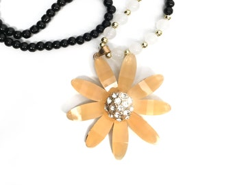 Long Necklace with Large Yellow Flower with Rhinestones, Sparkling, fashion, Handmade, Gift for Mom, for Her