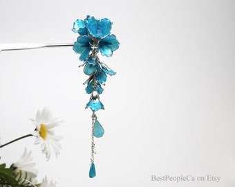 Hairpin Dangle Tender Bluebells Flowers Silver accents Resin Japanese Tsumami Kanzashi Silver Wire Wrapped
