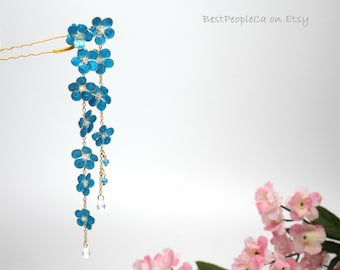 Forget-me-not Resin Japanese Tsumami Kanzashi Hair Stick Gold Accents Hairpin Hair fork Hairpiece Wedding Wire Wrapped Flowers