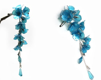 Hair Clip Dangle Tender Bluebells Flowers Silver accents Resin Japanese Tsumami Kanzashi Silver Wire Wrapped