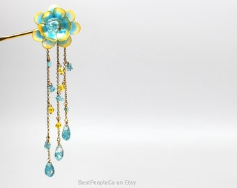 Resin Japanese Tsumami Kanzashi Pink Flower Hair Stick Gold Hairpin Hairpiece Wedding Wire Wrapped Swarovski Crystals Unique gift for her