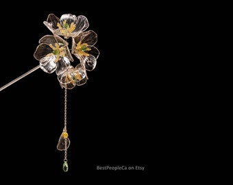 Hairpin Hair Stick Flower Diphylleia grayi Transparent Flowers Dangle Resin Japanese Kanzashi Silver Wire Wrapped