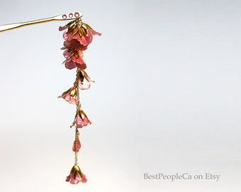 Hairpin Hair Stick Dangle Resin Japanese Tsumami Kanzashi Gold Wire Wrapped Tender Pink Flowers Gold accents