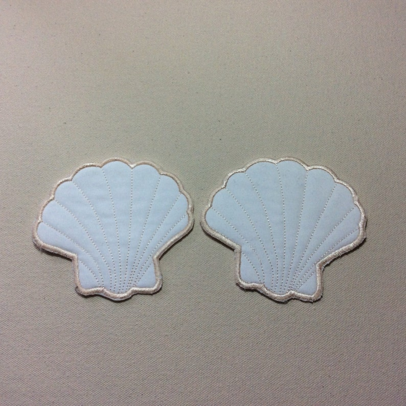 Sea Shell Embroidered Coasters Set of 2 image 0