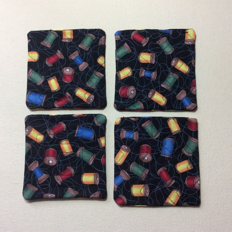 Coasters quilted sewing motif.  Set of 4 image 0