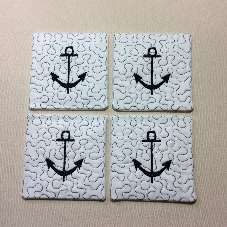 Coasters set of 4 quilted anchor. image 0